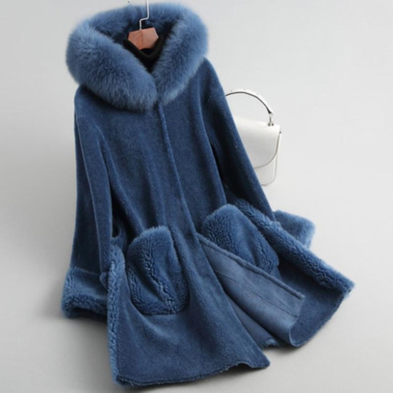 Winter Jacket Women Natural Sheep Shearing Coat Female Parka Real Fox Fur Hooded Clothes Spring Wool Clothing LWL1359