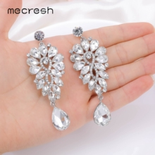 Mecresh Unique flower long Pendant Crystal silver color Earrings Sparkling for women bridal Jewelry 2020 MEH1736