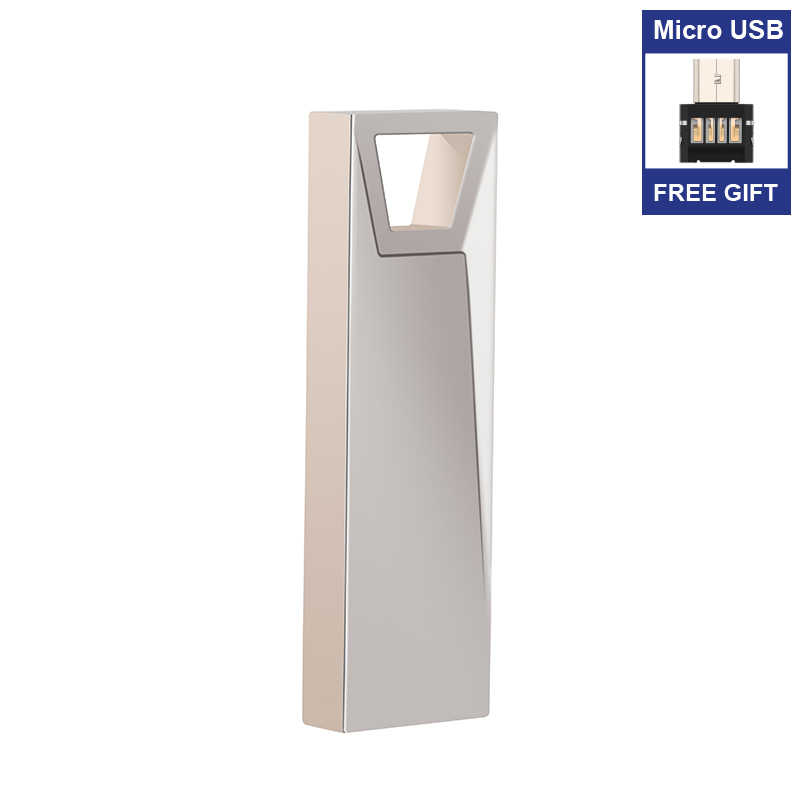 Clé Usb clé Usb en métal argenté clé USB 2.0 16gb 32gb 64g clé Usb clé Usb clé USB cadeau adaptateur Micro Usb