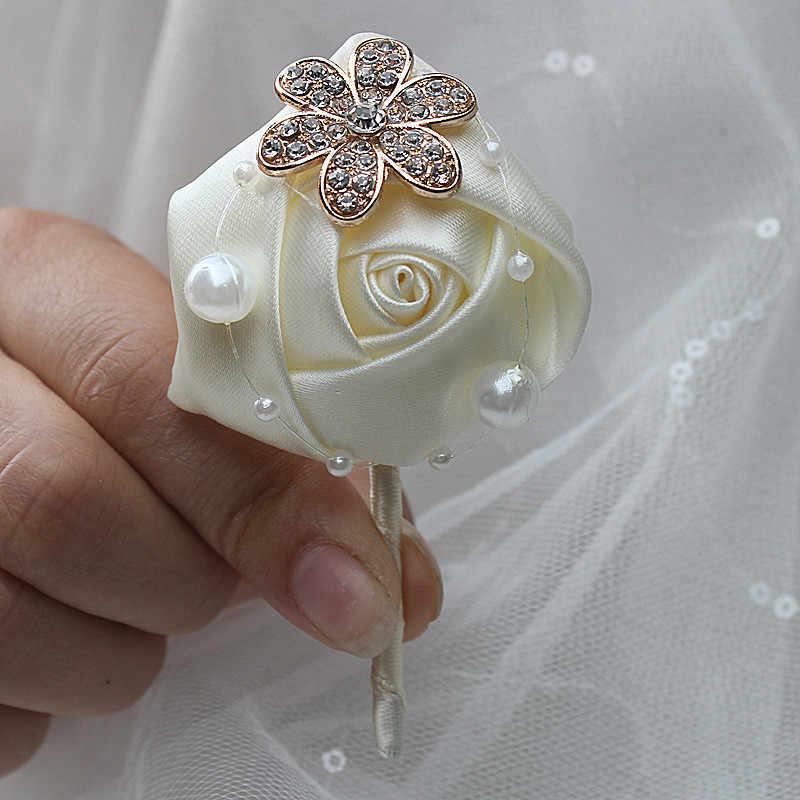Ivory Rose Bunga Mutiara Kristal Groom Boutonniere Pesta Pernikahan Prom Pria Setelan Korsase Pin Satin Lubang Kancing X848-J