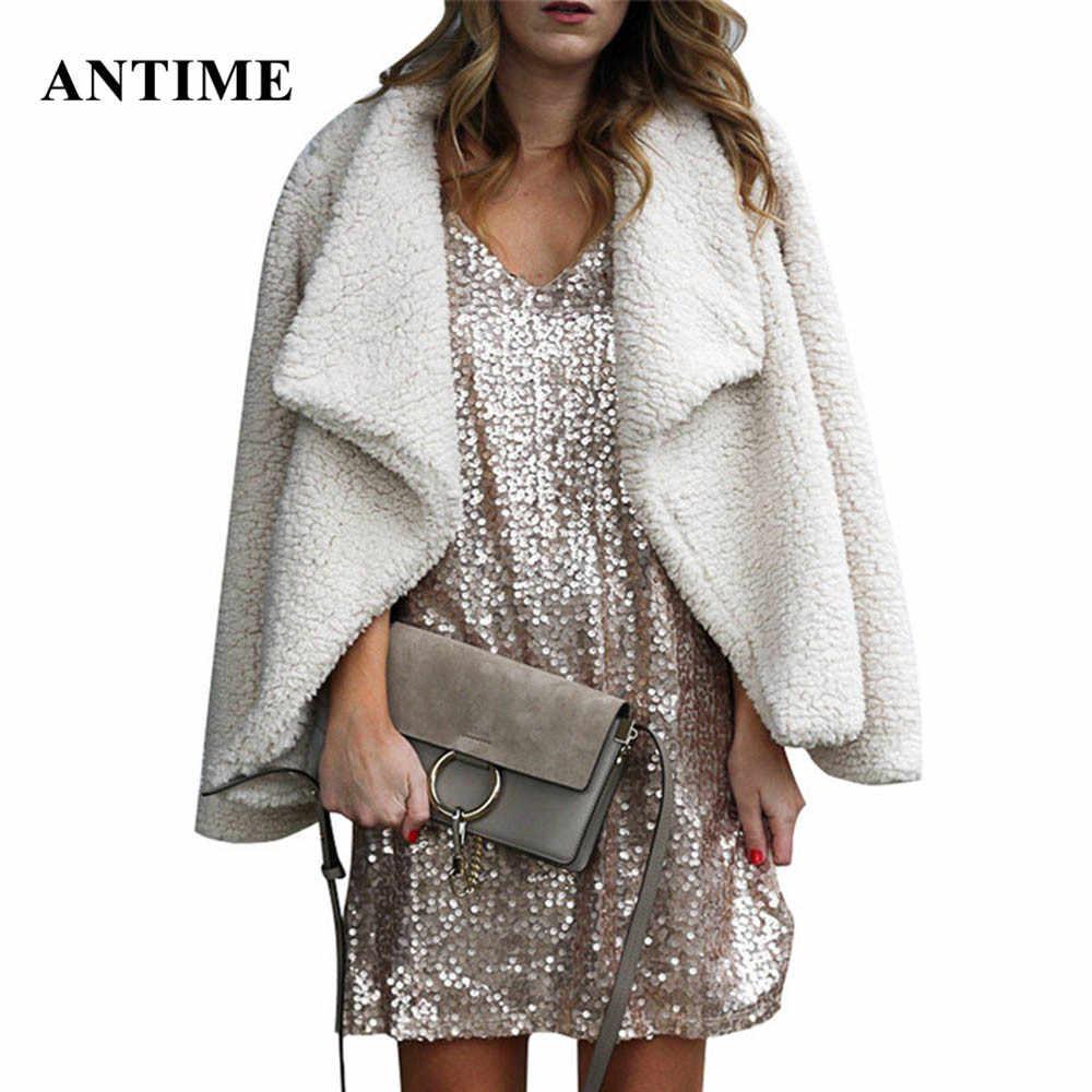 Antime Fluffy Plush เสื้อแขนยาวสบายๆขนแกะฤดูใบไม้ร่วงฤดูหนาว Faux ขนแจ็คเก็ต Outwear หญิง