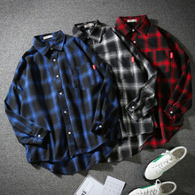 Men Shirt 2019 New Arrival Spring And Autumn Plaid Long Sleeve Male Shirt Teenage Boy Korean Style Plus Size 4XL 5XL S06 цена