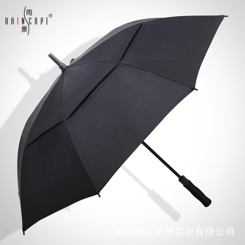 Umbrella Long Handle Men's Extra-large Three Automatic Double Layer Windproof Golf Umbrella Rain Or Shine Dual Purpose Advertisi