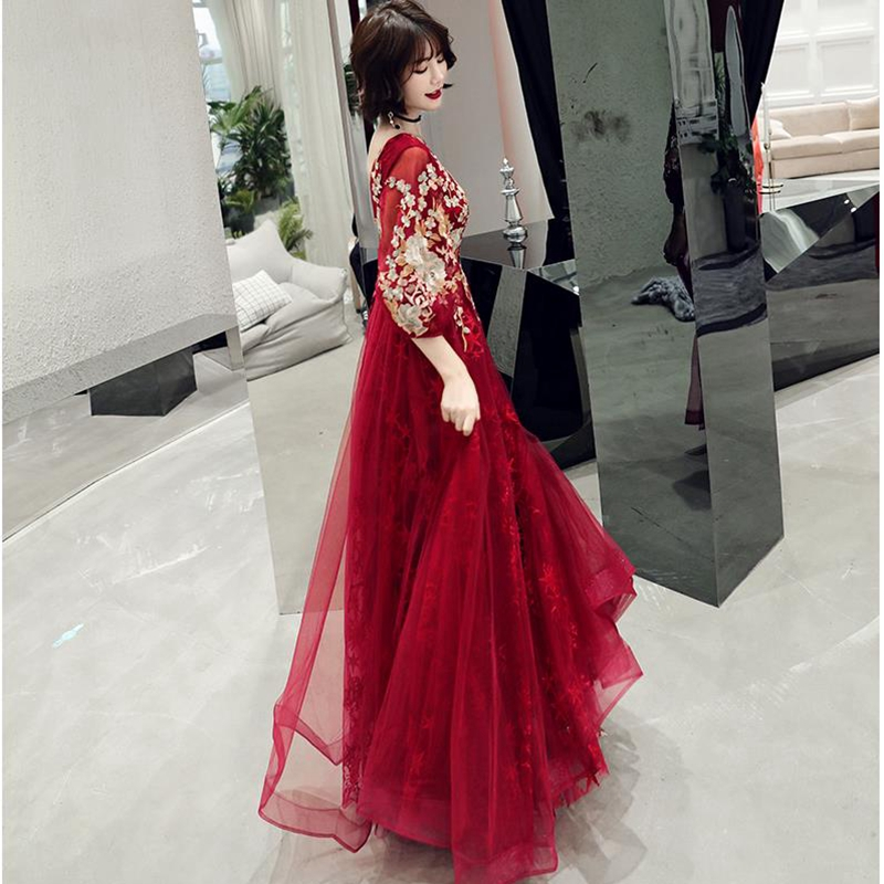 Evening Dress A-Line Elegant Plus Size Evening Dress 2020 new Lace applique Dress Woman Party robe vestido chino Formal Gowns