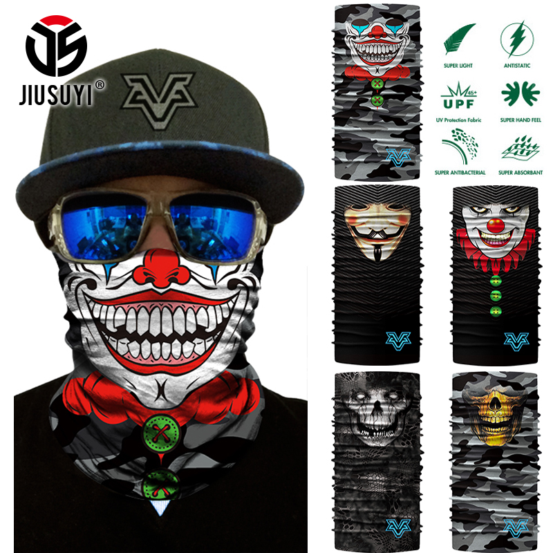 3D Seamless Headband Joker Clown Skull Ghost Neck Warmer Gaiter Tube Face Mask Bandana Headwear Halloween Head Scarf Camouflage