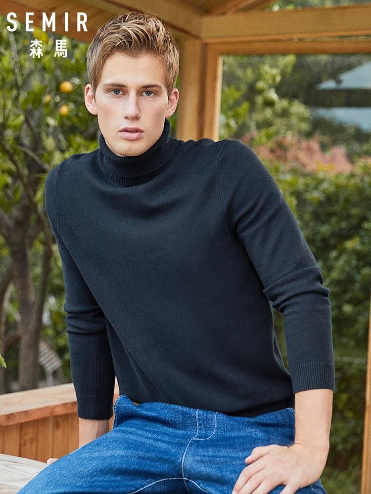 SEMIR col haut pull hommes pull mince marée coréen auto-culture 2019 coton hiver nouveau noir fond pull