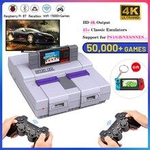 وحدة ألعاب فيديو محمولة 4K HD مع وحدة تحكم لاسلكية 2.4G مع 50000 لعبة ، وحدة تحكم WIFI/LAN لـ PS1/NES/GBA