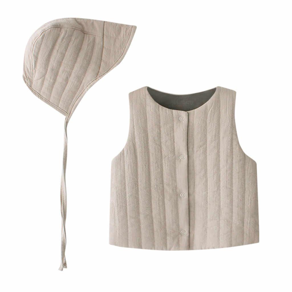 Nuevo chaleco de diseño de dos lados para bebé niños niña niño Otoño Invierno chaleco abrigo grueso acolchado prendas de vestir sin mangas chaqueta + trajes de sombrero
