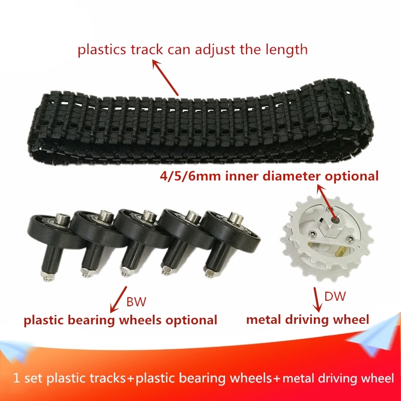 1 Set Plastic Track+4/5/6mm Inner Size Plastic Bearing Wheels Optional+Metal Driving Wheel for Robot <font><b>Tank</b></font> Car Chassis DIY RC Toy image