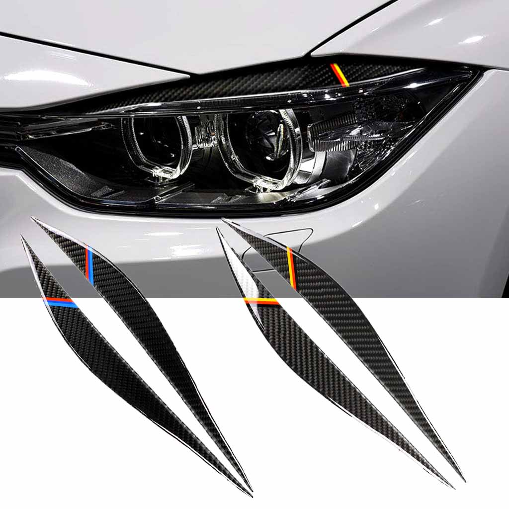 3 Style 2PCS Sticker Carbon Fiber Headlight Eyebrows Eyelid Trim Eye Lid Cover Decoration for BMW F30 F34 320i 325i 316i