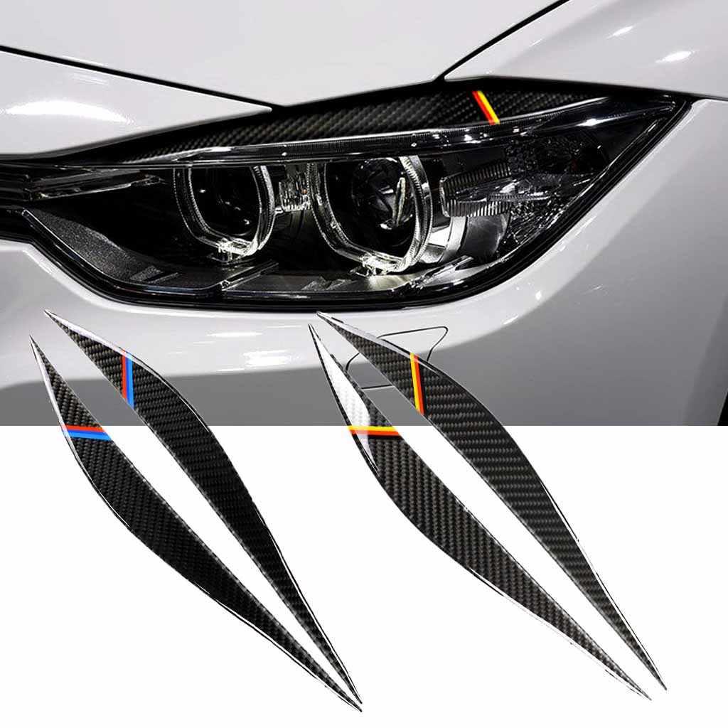 2PCS Carbon Fiber Headlight Eyebrow Eyelid Cover For BMW 3 Series  2013-2017 F30