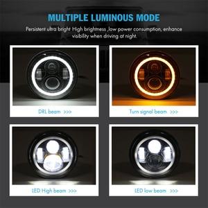 """Image 2 - 7 """"LED DRLไฟหน้าสำหรับVAZ 2101 7"""" ไฟหน้าW HaloแหวนAmber TurnสัญญาณสำหรับLada Niva 4X4 Suzuki Samurai Фары На Ниву 4х4"""