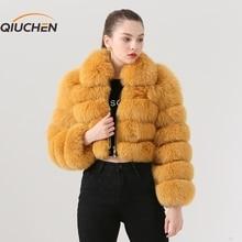 QIUCHEN PJ19021 2020 Neue ankunft echt fuchs pelz frauen winter kurze mantel Mode modell Hohe qualität fuchs pelz mantel