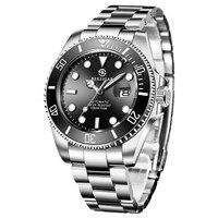 Bersigar relógio masculino automático aço inoxidável à prova dwaterproof água relógios de negócios relógio mecânico erkek izle relogio masculino