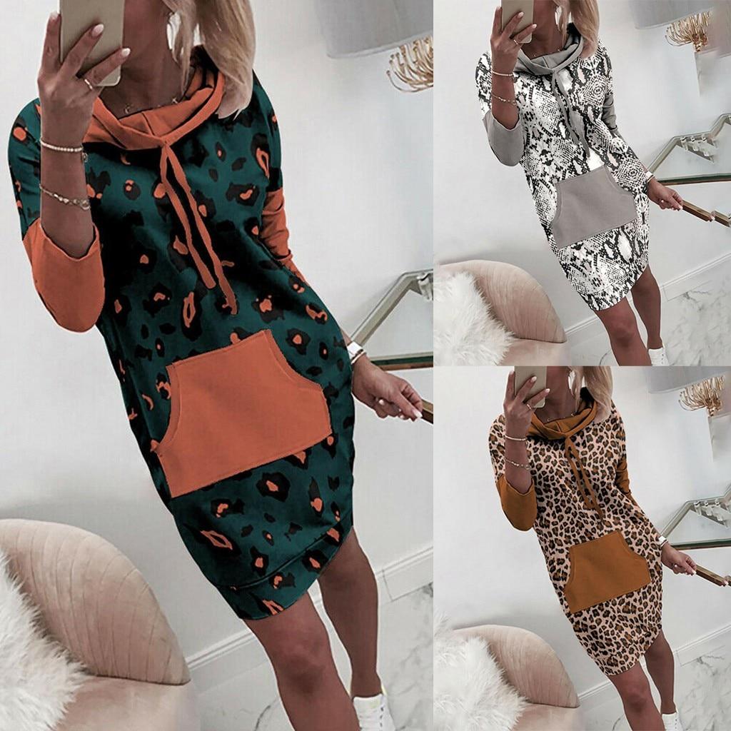 Women Plus Size dres Autumn Long Sleeve Leopard Jumper Pullover Sweatshirt Hoodie Hooded Mini Dress with pocket Vestido Mujer*