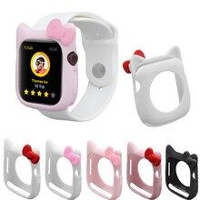 цена на Cute Cartoon Bowknot Case Soft TPU Bumper Cover Protective Frame For apple watch 40mm 44mm 38mm 42mm Series 5 4 3 2 1 accessory