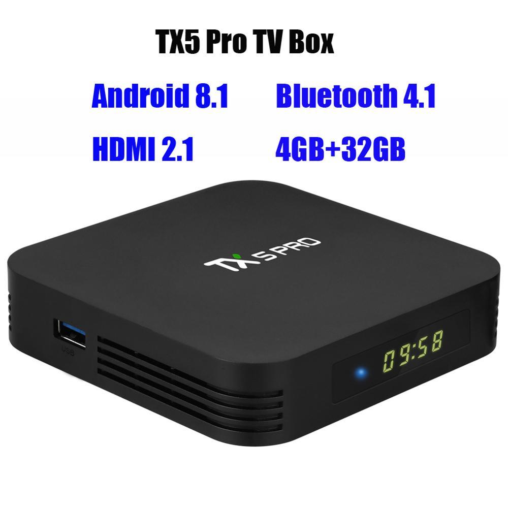 Tanix TX5 Pro Android 8.1 Smart TV Box Portable bluetooth 4.1 4GB + 32GB DC 5 V/2A S905X2 H.265 8K 60fps HDMI décodeur EU US Plug