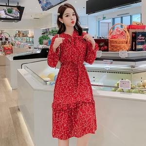 2019 винтажное женское красное шифоновое платье миди с принтом осень зима плюс размер платье с длинным рукавом элегантные женские облегающие...