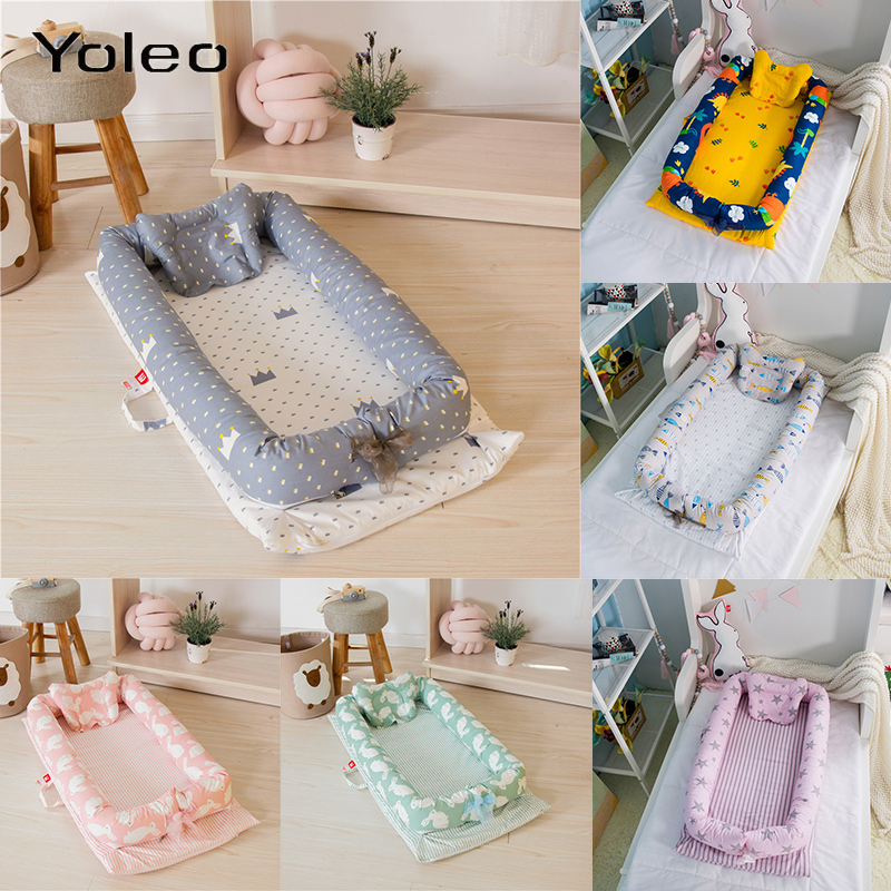 Newborn Baby Bed Removable Baby Crib Portable Washable Baby Travel Bed Nest Cotton Crib Outdoor Bed For Infant Kids Bedding