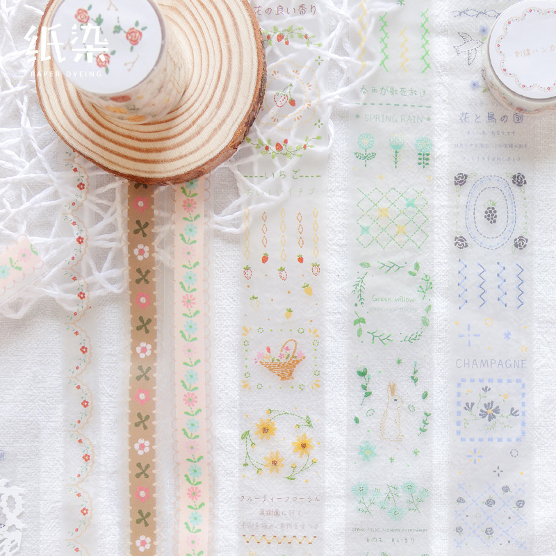 Small Fresh Washi Tape Pet Transparent Lace Flower Tape Scrapbooking Album Diy Handmade Decoration Sticker Maskingtape Paper