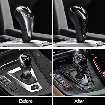High Quality Carbon Fiber Gear Shift Knob Cover Hand Brake Cover Sleeve Car Interior Protect Cover For BMW M3 F80 M4 F82 image