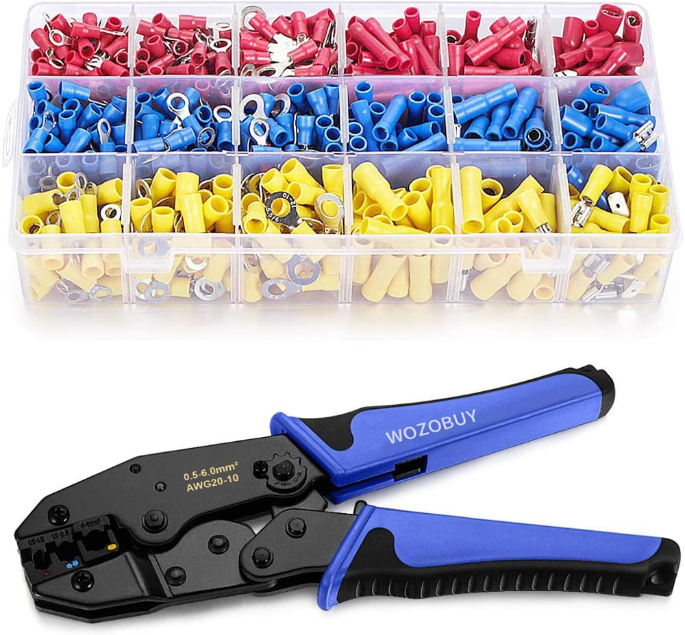 Wire Terminals Crimping ToolInsulated Ratcheting Terminals Crimper Kit of AWG22-10 with 800PCS Insulated Butt Bullet Spade Fork