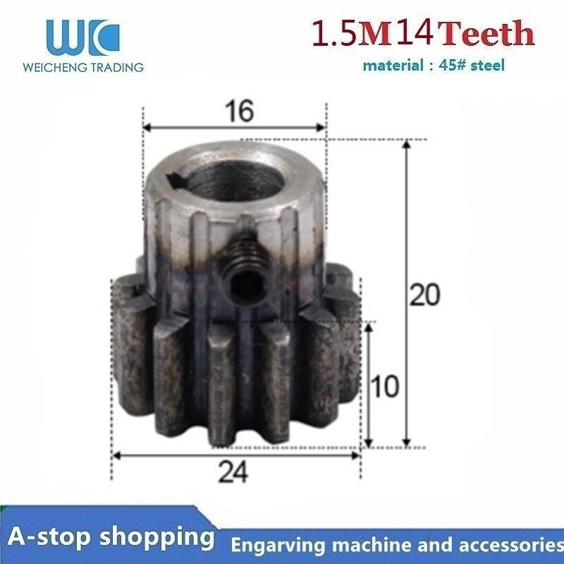 1pcs Spur Gear Pinion 1.5M 14T 1.5 Mod Gear Rack 14 Teeth Bore 6/8/10mm 45 Steel Cnc Rack Pinion