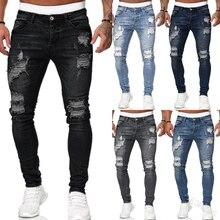 2021 calças de moletom masculinas sexy buraco calças jeans casual masculino rasgado magro do velho vintage magro motociclista outwears calças