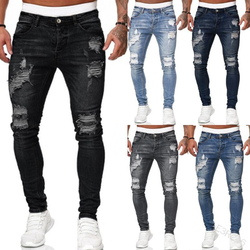 2021 Men's Sweatpants Sexy Hole Jeans Pants Casual Male Ripped Skinny Do Old Vintage Trousers Slim Biker Outwears Pants