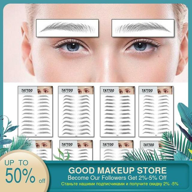 4D Hair-like Eyebrow Tattoo Sticker 4D Hair-like Authentic Eyebrows Waterproof Long Lasting Eye brows Styling for Women Lady