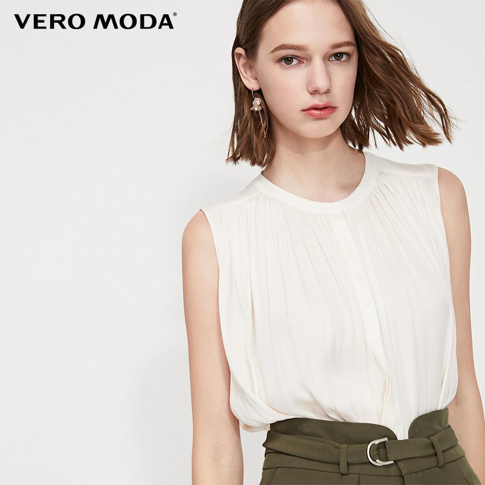 Vero Moda Women's OL Round Neckline Sleeveless Chiffon Shirt | 31926V501