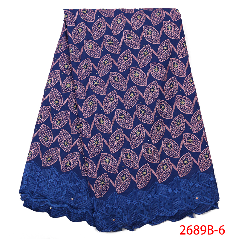 Blue Lace Fabric Latest Nigerian Lace Fabric 2019 High Quality Cotton Lace Fabric Embroidery With Stones KS2689B-6