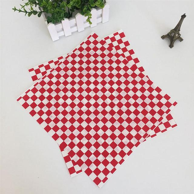 100PCS Red and White Grid Pizza Oil Paper Sheet Fried Food Paper Liners Hamburger Wrapping Paper for Baking Pastry