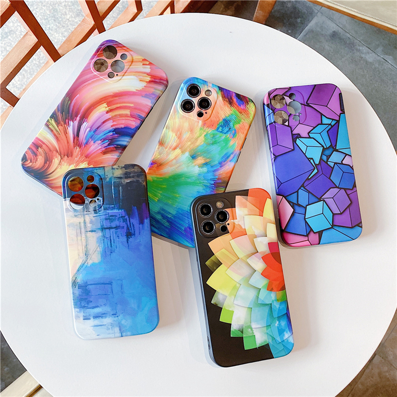 3D Colorful Cube Pattern Case For Iphone 12 Mini 11 Pro Max XR XS Max X 7 8 Plus SE 2020 Watercolor Graffiti Soft IMD Back Cover