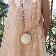 Darmowa wysyłka (1 sztuk/partia) niestandardowe naturalne powłoki biżuteria torba ręcznie powłoki rzemiosło ręczne i jedno ramię ukośny rozpiętość powłoki torba