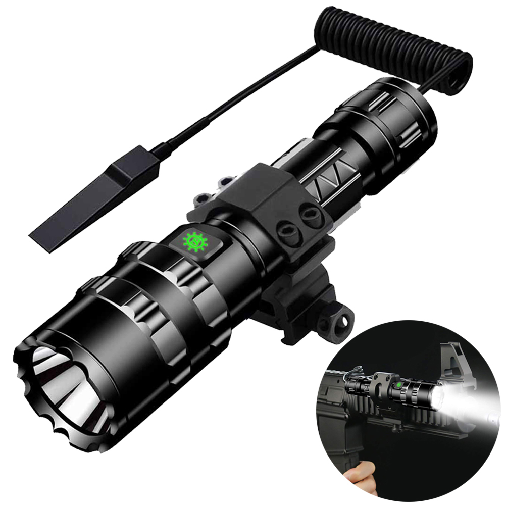 Tactical Flashlight 1600 Lumens USB Rechargeable Torch Waterproof Hunting Light with Clip Hunting Shooting Gun Accessories