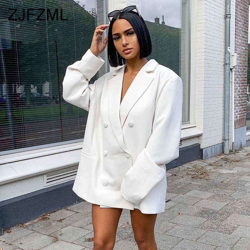 Autumn Double-Button Long Blazer Women Notched Long Sleeve Causal White Oversized Blazers Elegant Mujer Neon Solid Slim Jacket