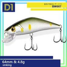 D1 batan minnow wobblers 63mm 4.8g bahar ve yaz yemler yüksek kaliteli sert yem dengeleyiciler için alabalık balıkçılık aksesuarları
