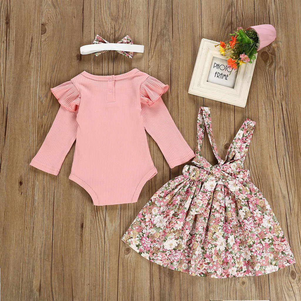3-24M Newborn Baby Girl Clothes Long Sleeve Solid Ruffles Ribbed Romper Floral Skirts Infant Clothing Set Toddler Girls Outfits