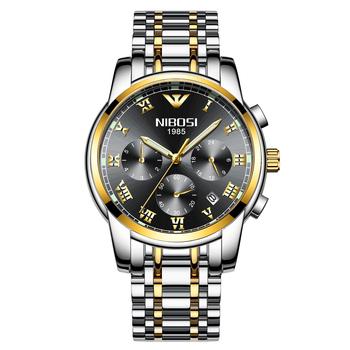 NIBOSI VIP 2 moda męska ze stali nierdzewnej zegarki Top marka luksusowy sportowy zegarek kwarcowy mężczyźni Relogio Masculino tanie i dobre opinie 22cm Luxury ru QUARTZ NONE 3Bar Klamerka z zapięciem CN (pochodzenie) STAINLESS STEEL 12mm Hardlex Kwarcowe zegarki Papier