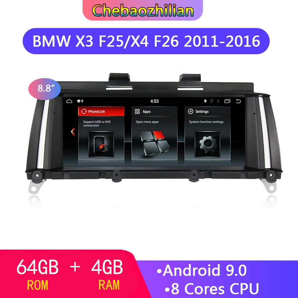 64G Android 9.0 car GPS multimedia player Navigation For BMW X3 F25/X4 F26 2011-2016 CIC or NBT system with wireless Carplay
