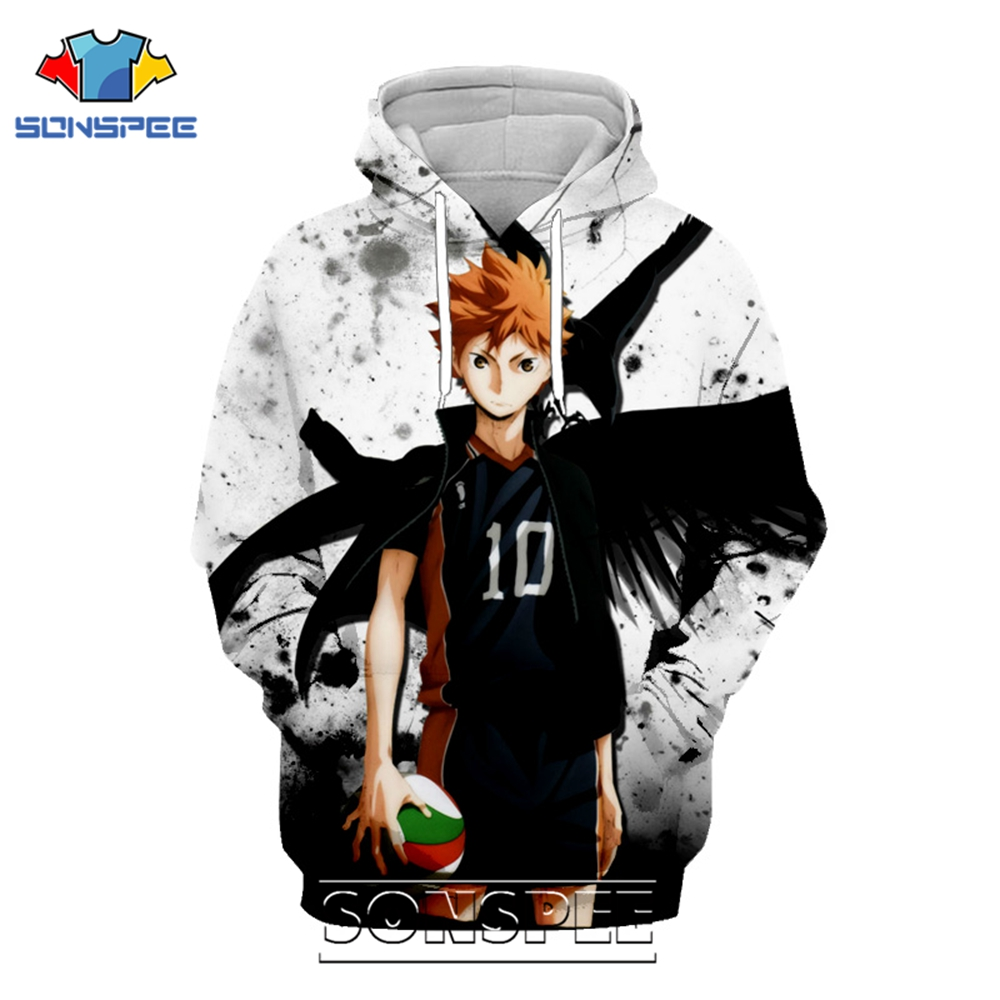 SONSPEE 3D Print Haikyuu Hoodie Men Women Casual Oversized Coat Japanese Streetwear Volley Ball Pullover Tops Anime Sweatshirt