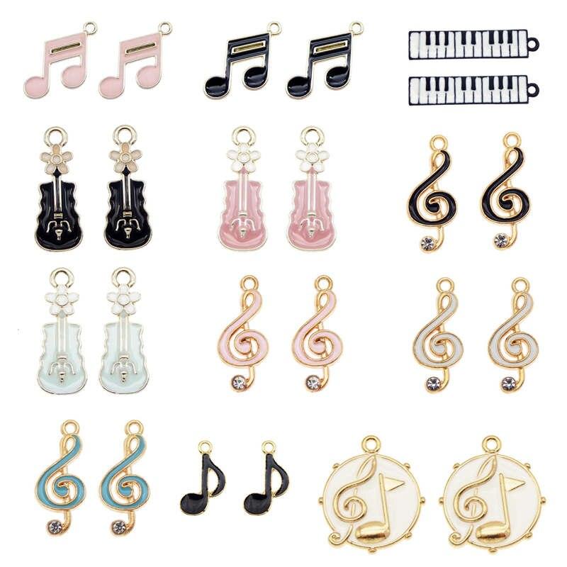 Julie Wang 12PCS Enamel Charms Mixed Musical Instruments