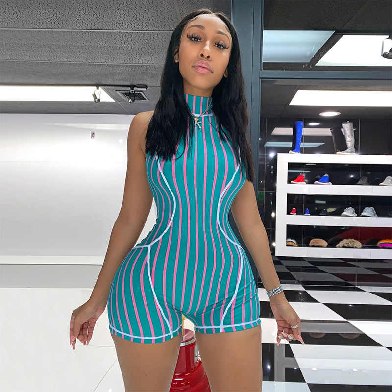 ผู้หญิงแขนกุดคอ Bodycon Playsuit One ชิ้นที่มีสีสันพิมพ์ Slim Clubwear Jumpsuit พรรค Jumpsuit Romper กางเกงสั้น