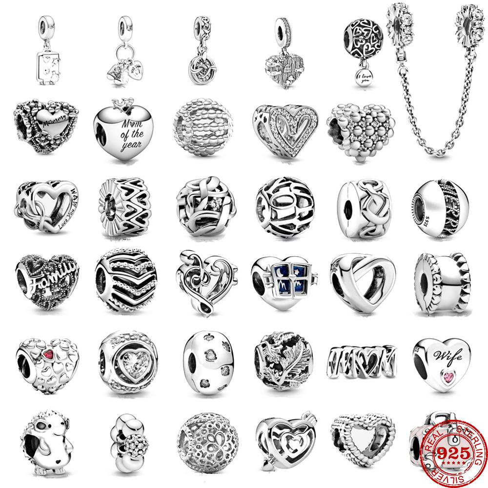 Heart Shape 925 Sterling Silver Flower Mum Mom of my Heart Charms DIY fine beads Fit Original Pandora Charm Bracelet Jewelry(China)