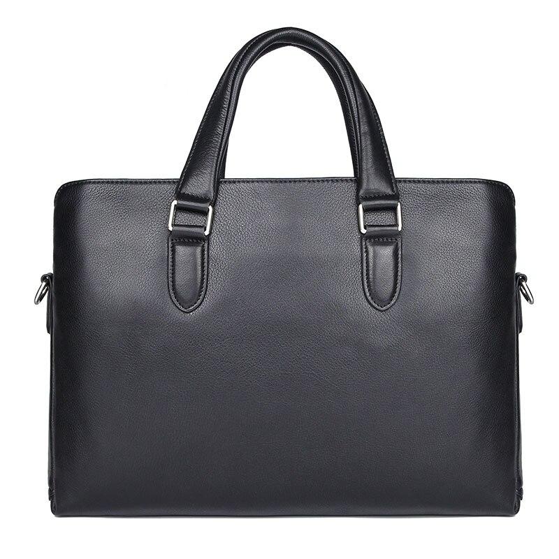 Genuine Leather Handbag Men's Briefcases Portfolio Designer Bag Male Bag Black Laptop Bag 7410-