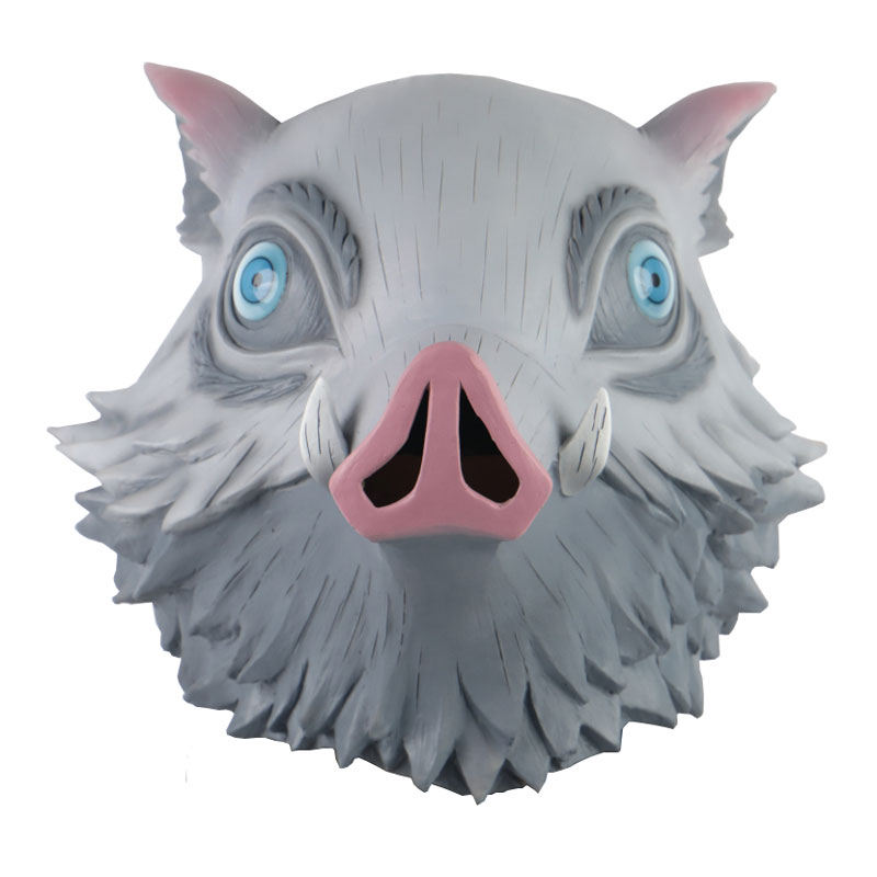 Anime Demon Slayer Kimetsu No Yaiba Mask Figures Toy Hashibira Inosuke Pig Head Latex Mask Cosplay Halloween Figurine Doll