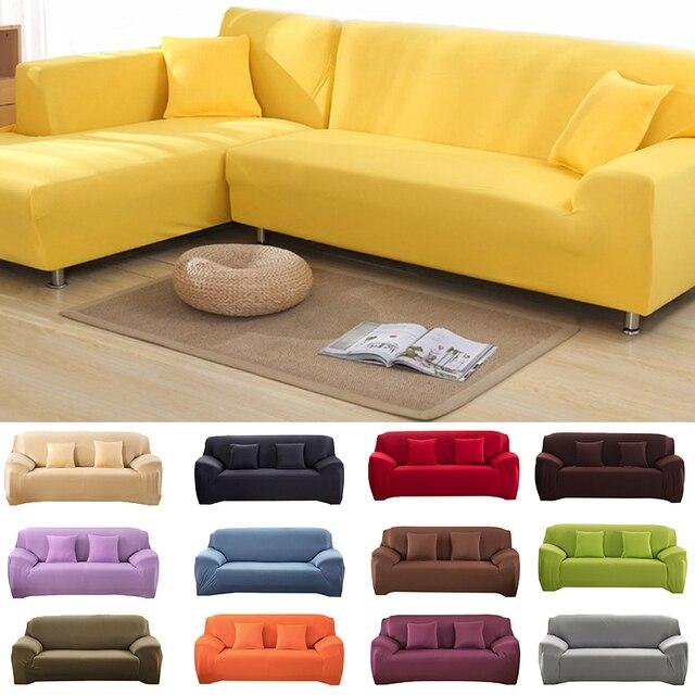 Sofa Cover l shaped 22 solid colors Modern Elastic Sofa Cover Printing Sofa Covers Room