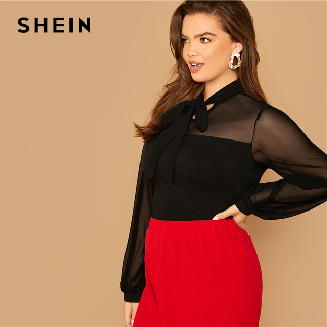 SHEIN Plus Size Black Tie Neck Mesh Sleeve Top Blouse Women Autumn Stand Collar Office Lady Womens Elegant Tops and Blouses 2