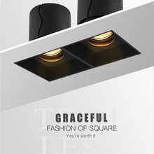 SCON Double Row Grill lights 14W 24W Pure Black Ceiling Embedded Spot Lamps Led modules Restaurant LED Downlight